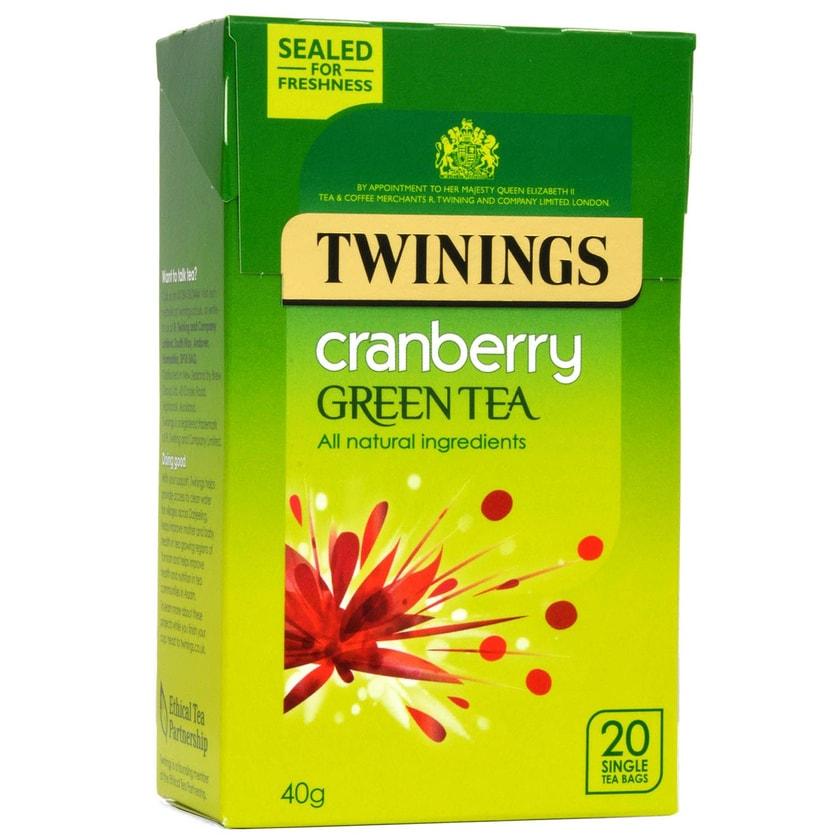 Twinings Grüner Tee Cranberry 20 Teebeutel - aromatisierter Grüntee