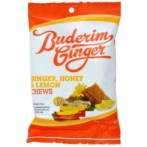Buderim Ginger, Honey & Lemon Chews 50g - Ingwerbonbons Honig & Zitronen-Geschmack