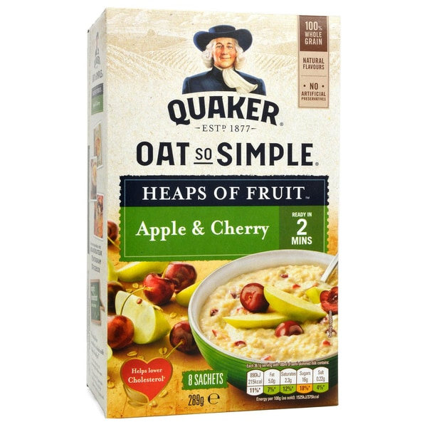 Quaker Oats So Simple Apple & Cherry Porridge 8 Sachets - Instant-Porridge