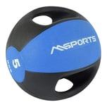 MSports Medizinball Premium mit Griffe – Professionelle Studio-Qualität Gymnastikbälle 5 kg - Blau