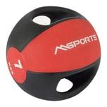 MSports Medizinball Premium mit Griffe – Professionelle Studio-Qualität Gymnastikbälle 7 kg - Rot