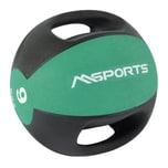 MSports Medizinball Premium mit Griffe – Professionelle Studio-Qualität Gymnastikbälle 9 kg - Smaragdgrün