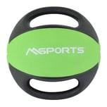 MSports Medizinball Premium mit Griffe – Professionelle Studio-Qualität Gymnastikbälle 4 kg - Grün