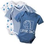 Erwin Müller Baby-Body 3er-Pack mit Druckmotiv blau