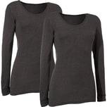 Damen-Unterhemd langarm 2er-Pack anthrazit