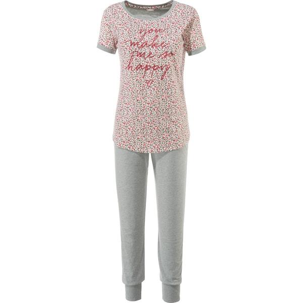 Esprit Damen-Schlafanzug grau meliert/weinrot