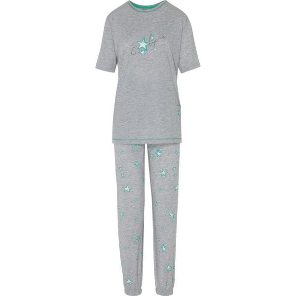 Hajo Damen-Schlafanzug hellgrau/grün