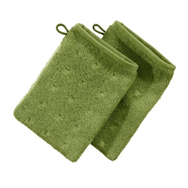 Möve Waschhandschuh 2er-Pack Quadretti grün