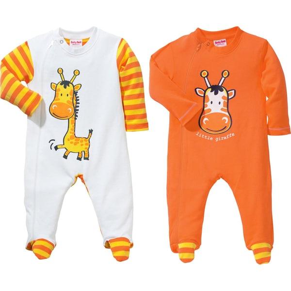 Erwin Müller Baby-Schlafanzug 2er-Pack mit Druckmotiv mandarine