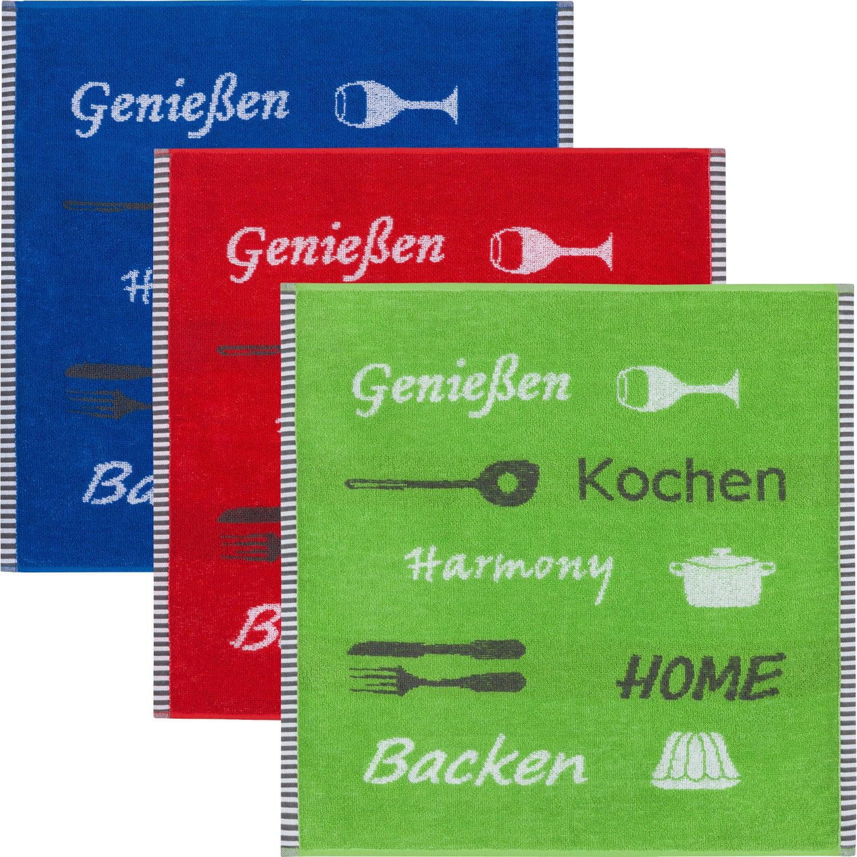 creme-rot-braun Kracht Geschirrtuch 2er-Pack Frottier