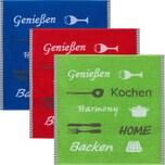KrachtFrottier Geschirrtuch 3er-Pack blau/rot/grün