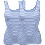 Pompadour Damen-Unterhemd 2er-Pack hellblau/weiß geringelt