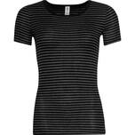 Pompadour Damen-Unterhemd, 1/2-Arm schwarz/grau geringelt