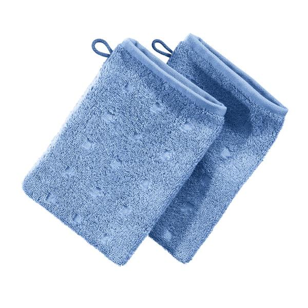 Möve Waschhandschuh 2er-Pack Quadretti hellblau