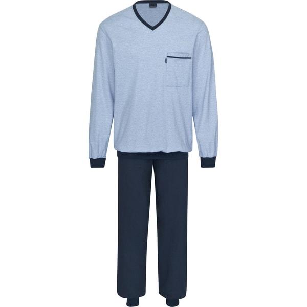 Ammann Herren Schlafanzug geringelt hellblau