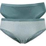 Schiesser Damen-Hüftslip 2er-Pack grün/grün-weiß geringelt