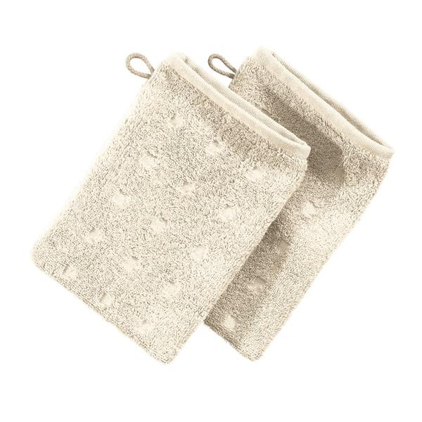 Möve Waschhandschuh 2er-Pack Quadretti natur