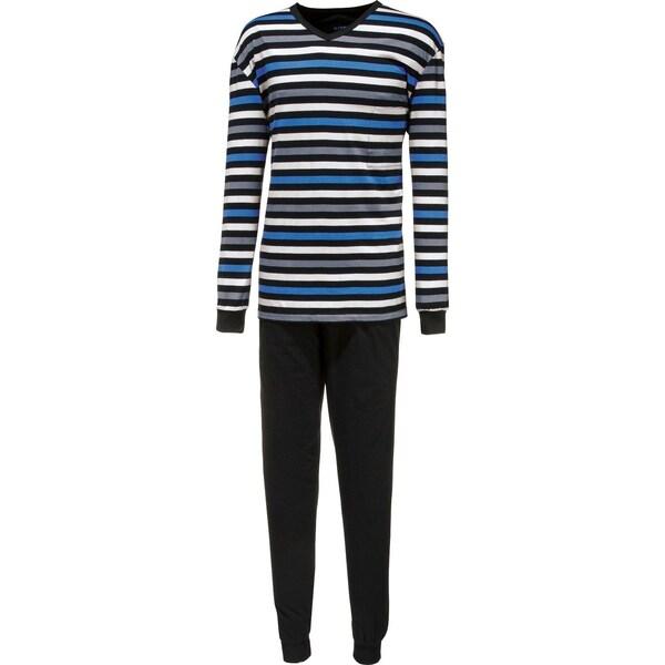Cito Herren-Schlafanzug blau/schwarz/grau