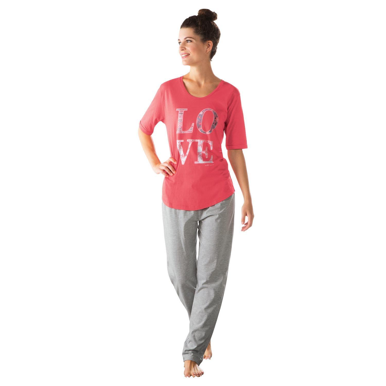 Esprit Damen-Schlafanzug mit Druckmotiv koralle
