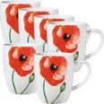 Gepolana Kaffeebecher mit Druckmotiv Mohnblumen 6-teilig