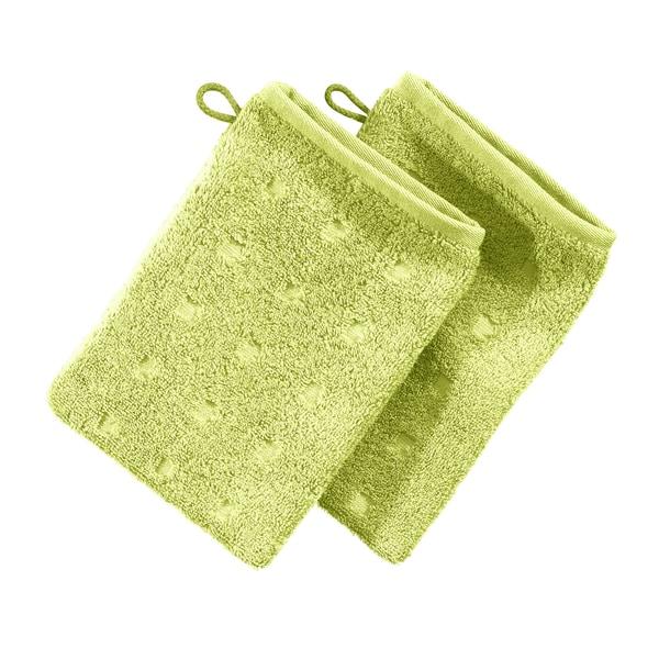 Möve Waschhandschuh 2er-Pack Quadretti hellgrün