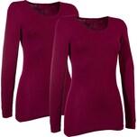 Damen-Thermo-Unterhemd, langarm 2er-Pack bordeaux