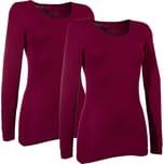 Damen-Unterhemd langarm 2er-Pack bordeaux