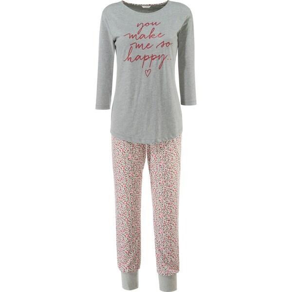 Esprit Damen-Schlafanzug mit Druckmotiv grau meliert/weinrot