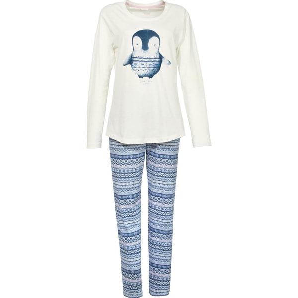 Esprit Damen-Schlafanzug mit Druckmotiv natur/blau
