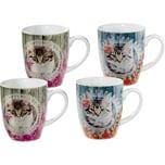 Gepolana Kaffeebecher mit Druckmotiv Katzen 4-teilig