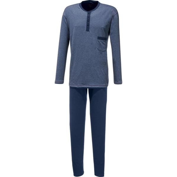 Cito Herren-Schlafanzug blau meliert