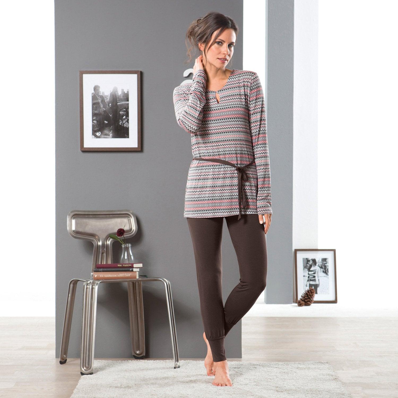 Esprit Damen-Schlafanzug dunkelbraun