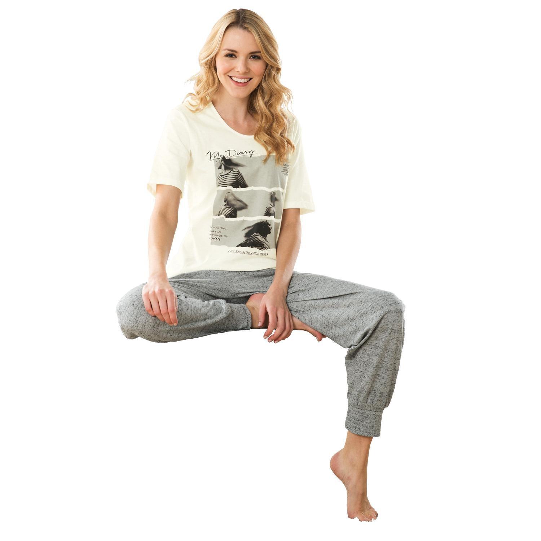 Esprit Damen-Schlafanzug mit Druckmotiv grau