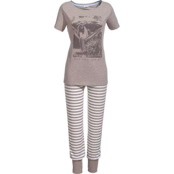 Esprit Damen-Schlafanzug mit Druckmotiv braun