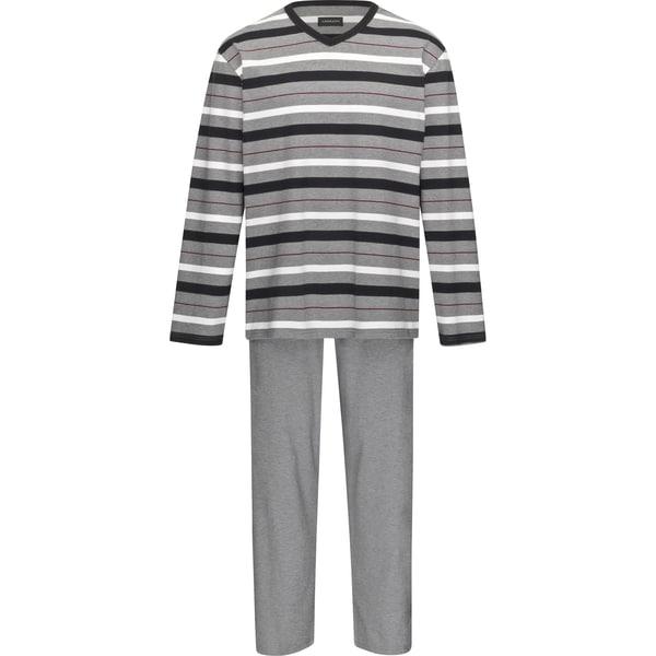 Ammann Herren Schlafanzug schwarz/natur/grau meliert