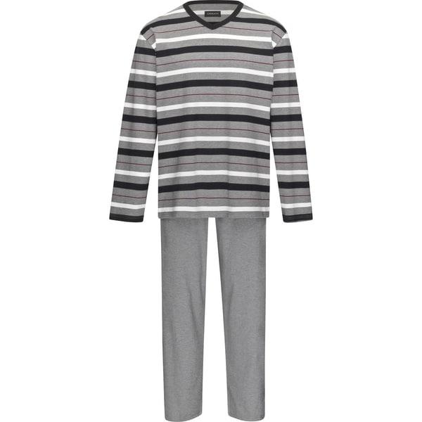 Ammann Herren-Schlafanzug grau meliert/schwarz/natur