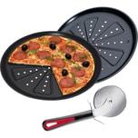 Pizzablech 2er-Pack + Westmark Pizzaschneider Set 3-tlg