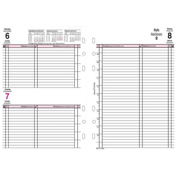 Bind Kalendereinlage 2020 A5 Nr. B250920 1T/1S 6-Fach Lochung