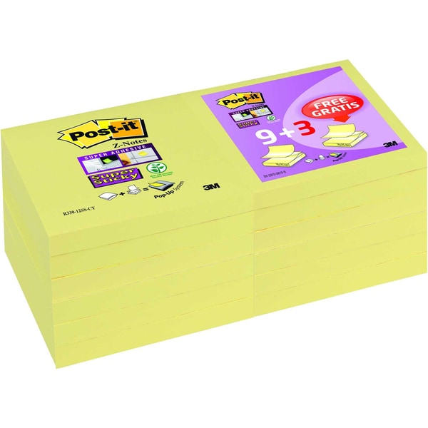 Post-it Haftnotiz Super Sticky 76x76mm Nr. R330SP12 gelb PA9 Block + 3Gratis