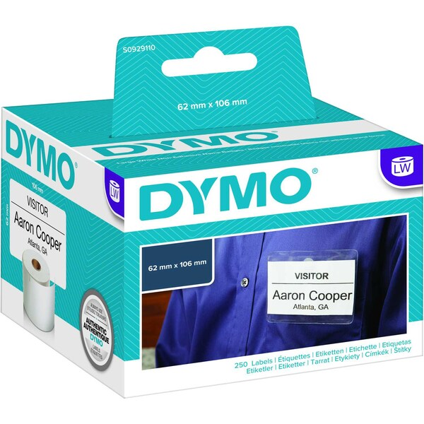 Dymo Namensschild-Etikett S0929110 weiß PA 250 Etiketten/Rolle 62x106 mm