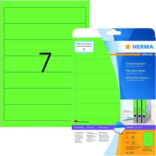 Herma Rückenschild Nr. 5094 grün PA 140Stk schmal/kurz sk bedruckbar