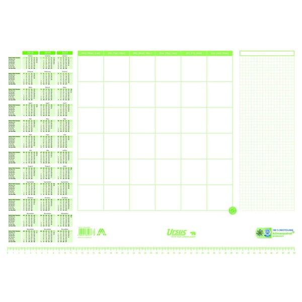 Ursus Schreibunterlage Papier weiß/grün Nr. 36447000 53x38cm 30 Blatt