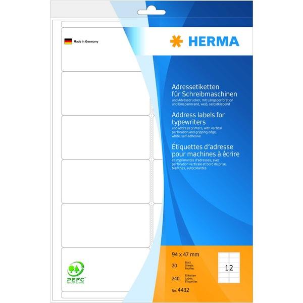 Herma Adress-Etikett Nr. 4432 weiß PA 240 Stk 94x47mm