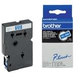 Original Brother Schriftband TC 595 9mm x 77m weiß auf blau laminiert