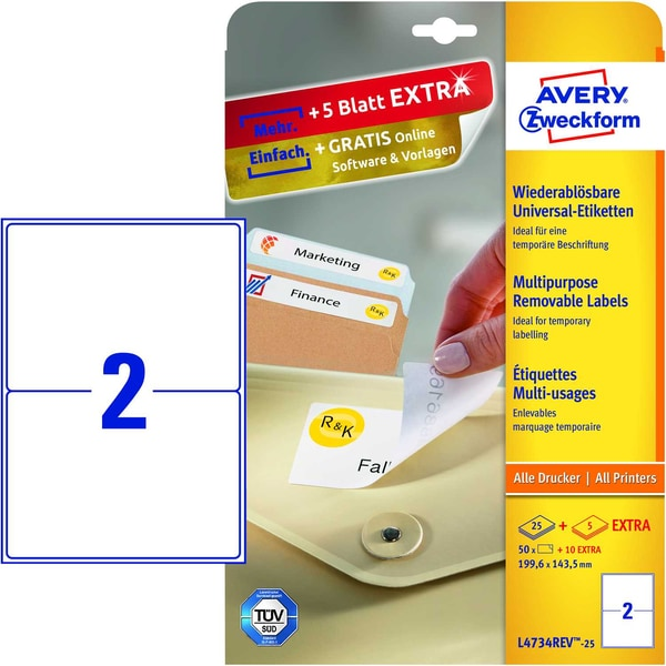 Zweckfom Universal-Etikett L4734REV-25 PA 50Stweiß 1996x1435mm nonpermanent