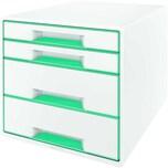 Leitz Schubladenbox Wow Cube A4 Nr. 5213-20-51 4 Fächer Weiß/Hellblau
