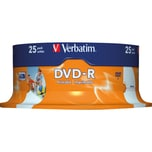 Verbatim DVD-R 4.7GB 120Min 16x ijet Nr. 43538. 25er Spindel.printable