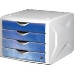 Helit Schubladenbox Chameleon A4/C4 Nr. H6129634 cool water 4 Fächer