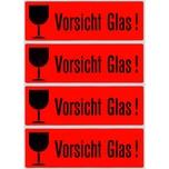 """Herma Hinweisetiketten Nr 6750 leuchtrot PA 1.000Stk 39x118mm """"Vorsicht Glas"""""""