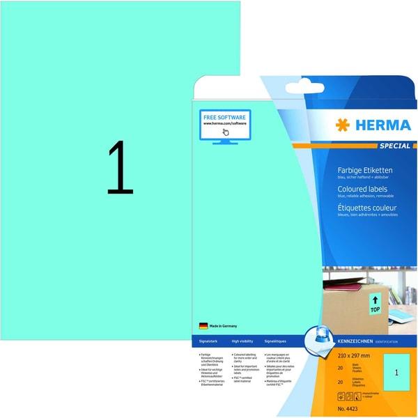 Herma Etikett Special Nr. 4423 blau PA 20 Stück. 210x297mm Signalwirkung